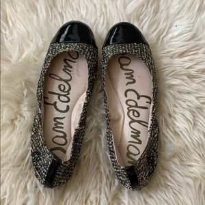Sam Edelman tweed flats with black patent tips